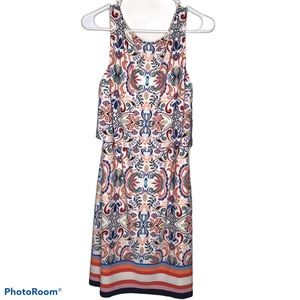 Vince Camuto Dress Muticolor Floral Stripe 10 NWT